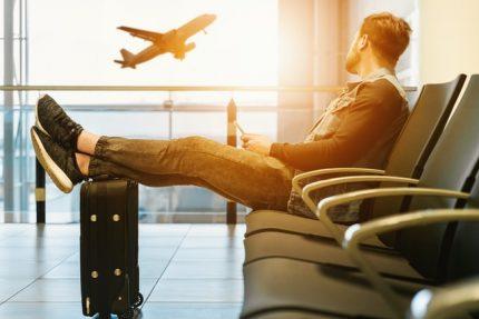 traveler waiting for flight to take off